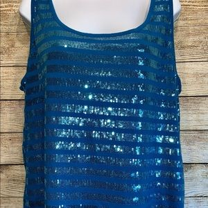 Lane Bryant Sequins Stripped Blue Tank Top 18/20
